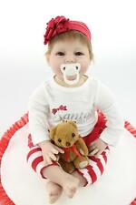 Handmade Real Life Looking 55cm Vinyl Silicone Cotton Reborn Baby Doll #112