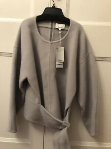 3.1 phillip lim Wool Top With Belt Design In Grey, Size 12. Brand New