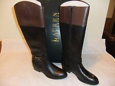 LAUREN RALPH LAUREN Menna Black Brown Leather Knee High Boot Size 9.5 NIB $179