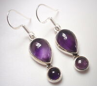 Amethyst Teardrop Sterling Silver Dangle Earrings Corona Sun Jewelry