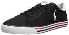 "Mens $60 POLO-RALPH LAUREN Black Canvas/ Leather Sneakers/ Shoes (12) ""HARVEY"""