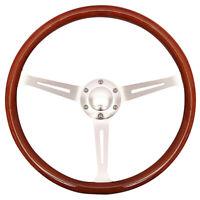 "15"" Wooden Grain Silver Brushed Spoke Steering Wheel Classic Wood 380mm & Horn"
