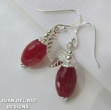 *Beere & Blatt* rote JADE Tropfen Ohrringe Perlen Kappen 925 Silber rubin-rot