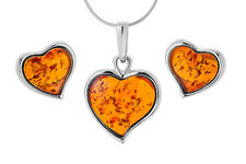 Sterling Silver & Cognac Amber Stud Earrings Pendant Heart Set Jewellery Jewelry