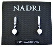 """Nadri Cubic Zirconia & Freshwater Pearl 1"""" Drop Earrings Silver Tone NEW"""