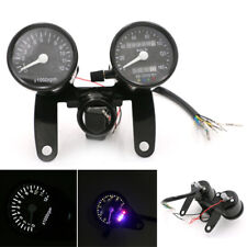 12V Black Motorcycle Speedometer Tacho Odometer LED Analogue Gauges Universal