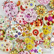 10/50/200/500pcs mixed designs flower cartoon wood round buttons 25MM craft DIY