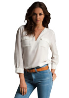 Joie Women's Marlo V-Neck Long Sleeve Washed Silk White Blouse Shirt Top - Large