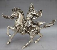 Collectable Tibet Silver Traditional Mars Guan Yu Copper excellent Statue