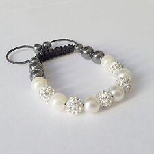Perlenarmband silber Shamballa Perlen Armband Strass Brautschmuck Braut Hochzeit