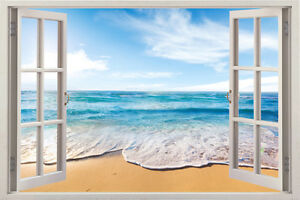 Beach 3D Window Vinyl Decal Decor Mural View Nursery Removable Wall Art Sticker