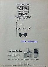 PUBLICITE MARCEL ROCHAS MOUSTACHE EAU DE TOILETTE COLOGNE DE 1967 FRENCH AD PUB