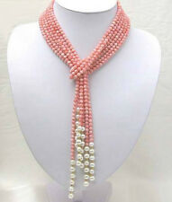 """Hot Sell Genuine White Pearl and Pink Coral Lady's 50"""" Tie Bunch Choker Necklace"""