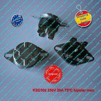 Termostato (1Pz) KSD302 250V 20A  75ºC NC, bipolar, Manual Reset Thermo