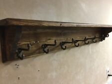 "HandMade 38"" Wooden Rustic Style Hat An Coat Rack With Cast Iron Acorn Hooks"