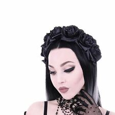 Restyle Black Roses Flowers Floral Garland Gothic Hair Headpiece Headband