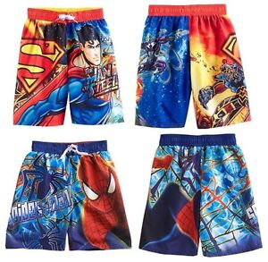Spiderman or Superman Board Shorts Swim Trunks ~ Size 10/12  ~ New With Tags