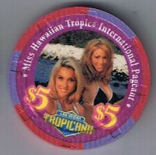 Tropicana Hotel $5.00 Miss Hawaiian Tropic International 2 Girl Casino Chip 1999