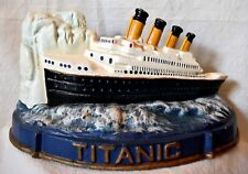 Titanic and Iceberg Door Stop cast iron over 11 inches long 6 inches tall