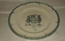 assiette decorative 24 cm céramique décor renaissance vert peint main plate