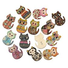 50pcs Animal Cat Wooden Button Sewing Scrapbooking DIY Craft 2 holes