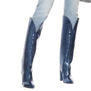 Women Punk Block High Heel Pointy Toe Cowboy Knee High Boots Winter 44 45 46 L