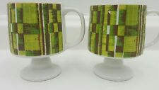 Vintage Japan Retro Coffee Cups Yellow/Green Set of 2 1960's