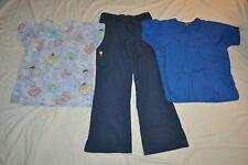 3 Piece Medium 2 Scrub Tops Nerds dogs & Blue Pants Nurse Health Care Euc