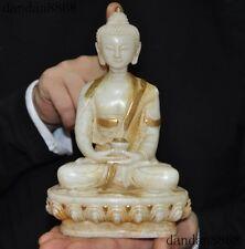 "8""Tibet fane White jade gilt Carved Sakyamuni Shakyamuni Medicine Buddha statue"