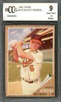 Whitey Herzog Card 1962 Topps #513 Baltimore Orioles BGS BCCG 9