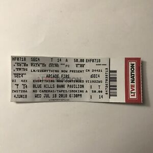 Arcade Fire Blue Hills Bank Pavilion Everything Now Concert Ticket Stub Jul 2018