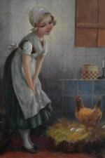 CHARMING ORIGINAL F. TILGNER SIGNED EDMUND ADLER OIL PAINTING YOUNG GIRL AND HEN