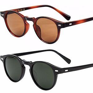 Quality Unisex Classic Vintage Round Oval Lens Keyhole Retro Polished Sunglasses