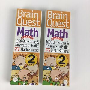 Brain Quest Math Grade 2, 1,000 Questions/Answers for Ages 7-8 Deck 1 And 2 Set