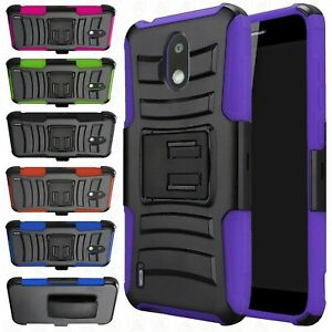 For AT&T Nokia 3.1 A Hybrid Combo Holster KICKSTAND Rubber Case Cover