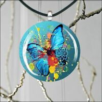 BUTTERFLY COLORFUL ABSTRACT DESIGN ROUND CABOCHON GLASS PENDANT -ihj6Z