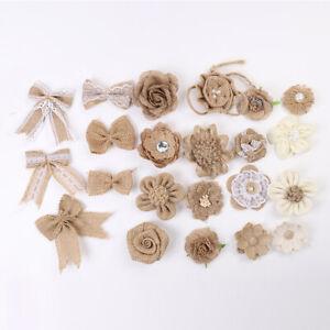 5Pcs DIY Flower Bowknot Hessian Shabby Burlap Handmade Wedding Home Decor Crafts