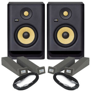 KRK Rokit RP5 G4 Pair Active DJ Studio Monitor Speakers, Isolation Pads & Cables