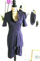 REISS 10 Royal Purple Pleated Cotton Dress Short Sleeves Cowl Neck Small