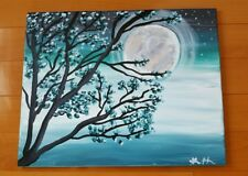 ORIGINAL Blue Cherry Blossom TREE Landscape Painting medium