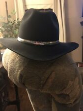 Black Custom Made Beaver Felt XXXXX Western Gentleman Hat Long Ovel Sz 7 1/2