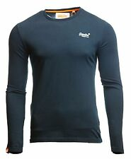 Superdry Mens Orange Label Vintage Embroidered T Shirt Long Sleeve Navy