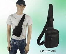 Herren Tasche Leder Umhängetasche Brusttasche Schulter Schwarz 15 * 18 * 6 cm