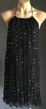 Lustrous LADAKH Black & Large Silver Sequin Halter Neck Dress Size 10
