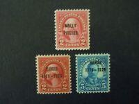 """1928 #646 #647 #648 2c & 5c Overprints MNH OG VF CV $30 #7 """"Includes New Mounts"""""""