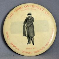 VINTAGE ADVERTISING POCKET MIRROR CELLULOID Ohio Overcoat Co. Zipperu