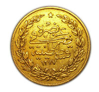 Coin 100 Kurush 1861 year.(1277) Turkey Ottoman Empire.GOLD