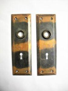 2 Vintage Arts & Crafts Copper Door Knob Plates Pair Mission Old Backplate Set