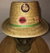 Vintage 60s 70s Straw Wicker Trilby Fedora Hat Vacation Maila Nassau Bermuda WOW