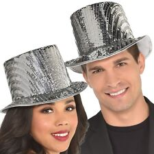 Ladies Mens Silver Sequin Top Hat New Years Carnival Fancy Dress Accessory